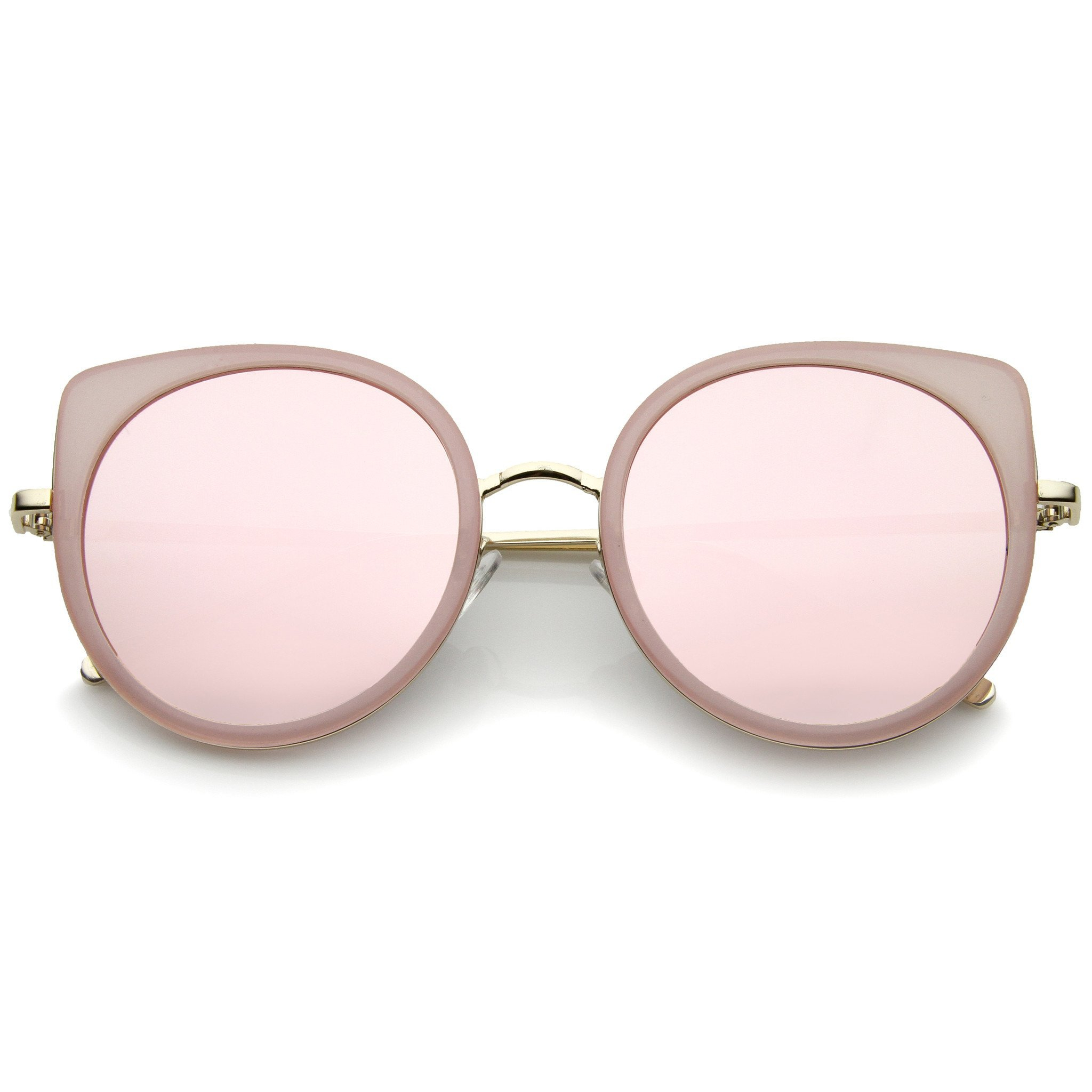 d183bc11495c4 Women s Slim Round Flat Mirror Lens Cat Eye Sunglasses A815