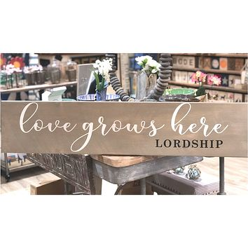 Love Grows Here Barn Board | Lordship | Grey Wash | 44-in