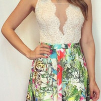 White Lace Floral Print Pleated Dress
