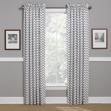Gray Chevron Lined Curtains