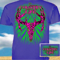 Country Life Outfitters Royal & Pink Stripe Deer Skull Head Hunt Vintage Bright T Shirt