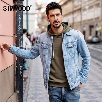 Trendy SIMWOOD 2018 New Arrival Denim Jacket Men Fashion Slim Fit Cotton Brand Clothing Vintage Outwear Male Plus Size Trucker  180090 AT_94_13