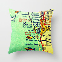 Florida Map Pillow | Sarasota Beach House | Decorative Throw Pillow Cover | Lido Longboat Siesta Key |Retro Way Cool Pillow | Vintage Map