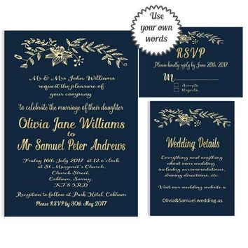Navy and gold Wedding Invitation Printable Wedding invitation Suite Minimalist Wedding Invitation Elegant Modern Wedding Invitation Simple