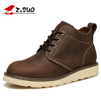 Natural Leather Men's Boots Cow Leather Casual Ankle Boots Flat Shoes Autumn Brown Lace-up Spring Short Boots For Male