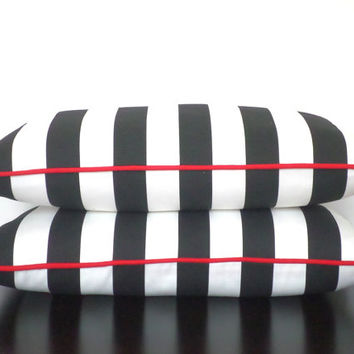 Color block lumbar cover in black, white and red, stripe pillow case 20x12, small chair pillow , cabana stripe pillow with accent piping