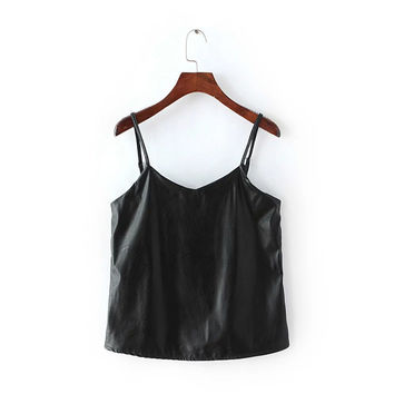 Summer Sexy V-neck Crop Tops Sleeveless Camisole Leather Tank Top = 4768816324