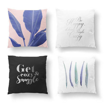 SET of 4 Pillows, Be Happy Pillow, Gold Pillow, Feathers Blue, Bed Pillow, Banana Leaf Violet, Boho Decor, Throw Pillow, Cushion Cover
