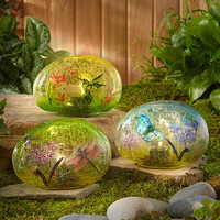 Solar Glass Garden Stone Lawn Yard Decor Hummingbird Butterfly Dragonfly