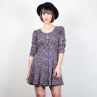 Vintage 90s Dress 1990s Dress Soft Grunge Dress Black purple Floral Print Mini Dress Hipster Babydoll Dress Skater Dress S Small M Medium