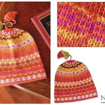 Pure Alpaca Wool Patterned Hat from Peru - Sunny Winter | NOVICA