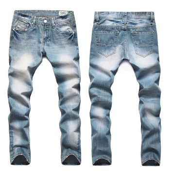 Men's Designer Light Stone Washed Jeans