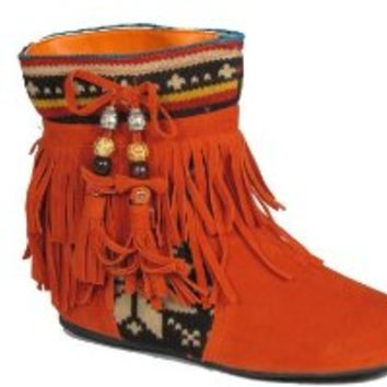 Mini 03 Fringe Moccasin Ankle Boots Orange Tribal 8.5