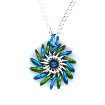 Whirligig or Whirlybird Pendant Blue and Green with Silver Chain, Chainmaille
