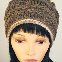Gray gold bone hat / Greige knitted winter hat / Crochet OOAK pillbox hat / Woman winter hat / Teen girl hat / Ruffled knit hat / Fall 2014