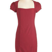 ModCloth Mid-length Short Sleeves Sheath Sleek it Out Dress in Crimson