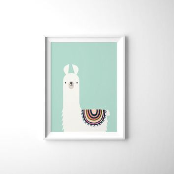 Cute Animal Llama Canvas Art Print , Llama Canvas Painting Poster Kids Room Tribal Wall Art Decor