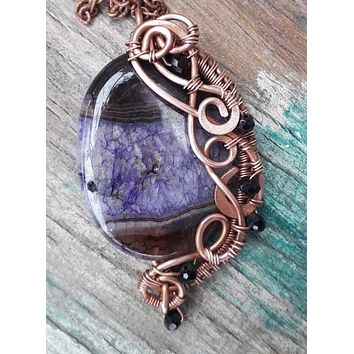Colored Purple Agate Wirewrap Necklace with Czech Beads