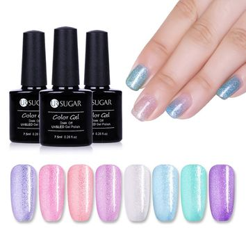 UR SUGAR 7.5ml Sandy Sugar Gel Nail Polish Gradient Super Shine Glitter Gel Varnish Opal Jelly Soak Off UV Led Nail Art Laquer