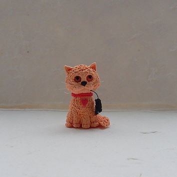 Little figurine cat of clay,chibi cat,animal totem,gift on Valentine's Day,sculpture,handmade,cute cat