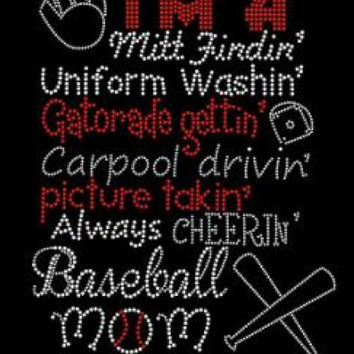 Baseball mom rhinestone hot fix iron on transfer - DIY motif appliqué - free heat press - hotfix heat transfer bling
