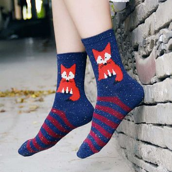 Random Color! Harajuku Animal Fox Wolf Striped Brand Lovely Cute Christmas Thick Wool Cotton Women Girl Crew Socks Winter