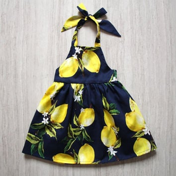 Girls Lemon Dress Apron Dress Pineafore Dress Navy Little Girls Beach Yellow Dress Backless Dress Halter Dress Toddler Summer Dress Dress