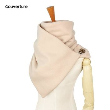 Hooded scarf Neck warmer Cowl scarf Women men Winter fashion Scarves and hooded snoods loop button by Couverture design echarpe