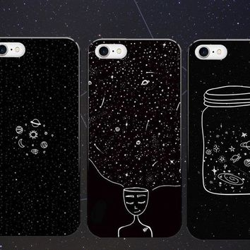 Moon Night Airship Astronaut Stars UFO Hard Phone Case Back Cover For iphone SE 5 5S 6 6S 6Plus 7 7Plus constellation Cases