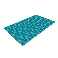 "Amanda Lane ""Island Blue"" Aqua Navy Woven Area Rug"