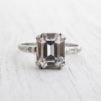 Antique Sterling Silver Crystal Ring - Art Deco 1940s Size 8 Faux Diamond Engagement Style Designer MH Jewelry / Emerald Cut