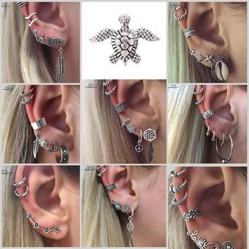 18 Types Retro Turtle Leaf Ear Piercing Helix Piercing Tragus Fake Nose Ring Star Studs Faux Piercing Oreille Body Jewelry Lot
