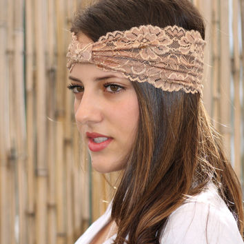 Light brown Headband, Boho style, Elastic Headband, Wide Headband, Turban Head Wrap, Hair Accessories, Lace headband