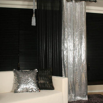 Handmade Metallic Curtains Drapery Panel Room Divider 1 Panel Perfect for Living room, Bed room -Free Fedex Delivery-