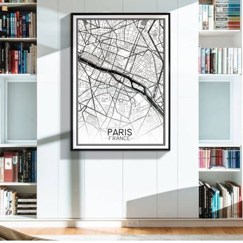 Modern Minimalist Map of PARIS Creative Canvas Painting Art Print Poster Wall Picture Room Decor 4 Different Sizes