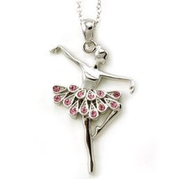 Light Pink Dancing Ballerina Dancer Ballet Dance Pendant Necklace Charm
