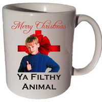 Merry Christmas Ya Filthy Animal quote 11 oz coffee tea mug Home Alone movei quote