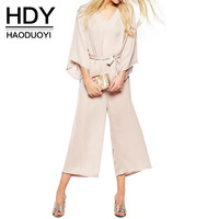 HDY Haoduoyi 2016 Women New Fashion Office Lady Flare Sleeve Elegant Sexy V-neck Rompers Tie Waist Wide Legging Jumpsuit