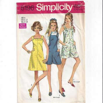 Simplicity 8196 Pattern for Misses' Dress or Mini-Pantdress or Pant Jumper, Size 12 From 1969, Vintage Sewing Pattern, Fabric Straps