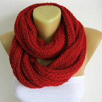 ON SALE - red scarf-Chunky Knit Scarf , crochet infinity scarf, crochet infinity scarves,  christmas gift- for her -Fashion accessories