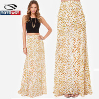 Women Clothing Daisy flower printed chiffon skirt bohemian style high waist long sexy skirts fashion new haoduoyi