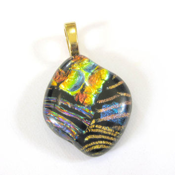 Dichroic Fused Glass Pendant Slide. Large Gold Bail - One of a Kind Pendant - Whiskey  by mysassyglass