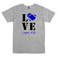 Football mom shirt.  Personalized with player's name and number.  Football love.