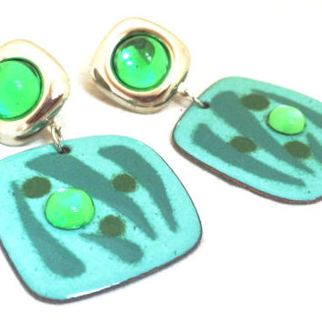 Green Dangle Earrings Drop Dangling True Vintage Jewelry Unique Runway Bold