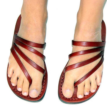 Special Greek Leather Sandals Design Flip-Flop Style Handmade  Size's : US 5-12    EU 35-46