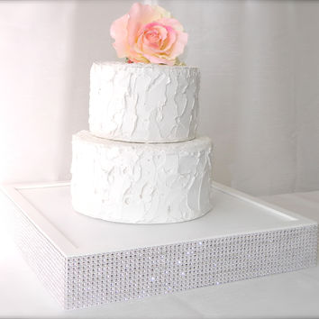 White Jeweled Wedding Cake Stand | 14 x 14 x 2.5 wedding cake box