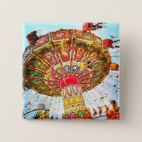 Vintage retro yellow carnival swing ride photo button