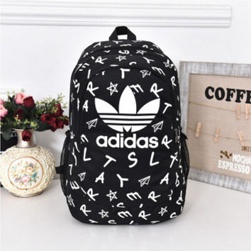 """Adidas"" Casual Sport Laptop Bag Shoulder School Bag Backpack Letters Black"