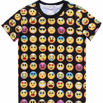Black 3D Emoji Print Short Sleeve Graphic T-shirt