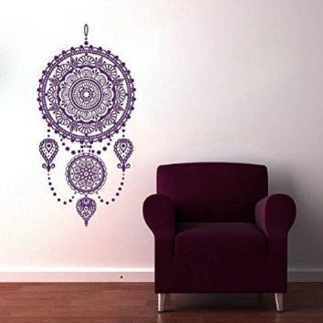 Wall Decals Mandala Ornament Dream Catcher Feathers Night Symbol Indian Geometric Moroccan Pattern Namaste Flower Om Yoga Wall Vinyl Decal Stickers Bedroom Murals AL3